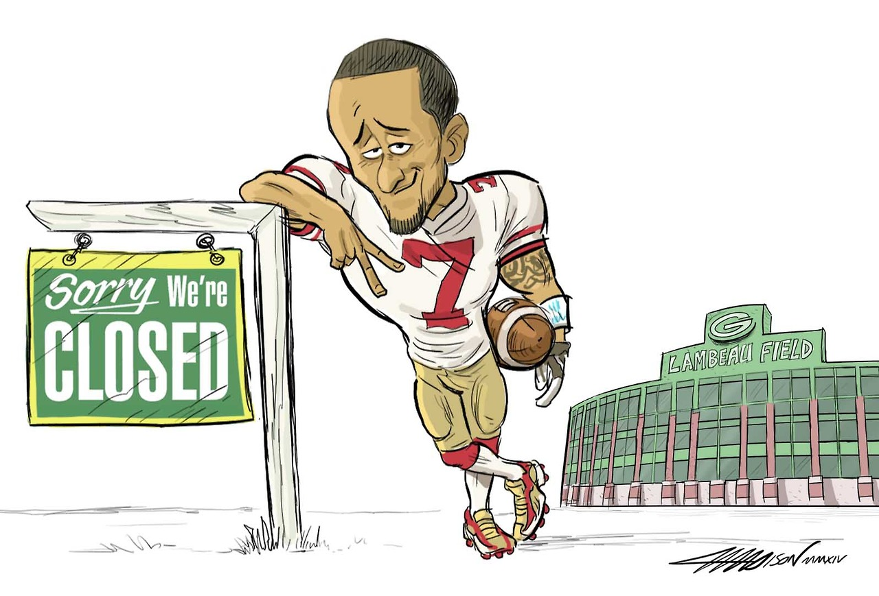 Colin Kaepernick says peace out to the Green Bay Packers via Austin Madison Pixar Artist