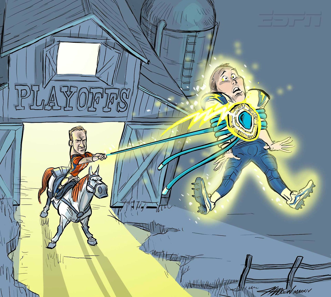 Peyton Manning vs Philip Rivers via Austin Madison Pixar Artist
