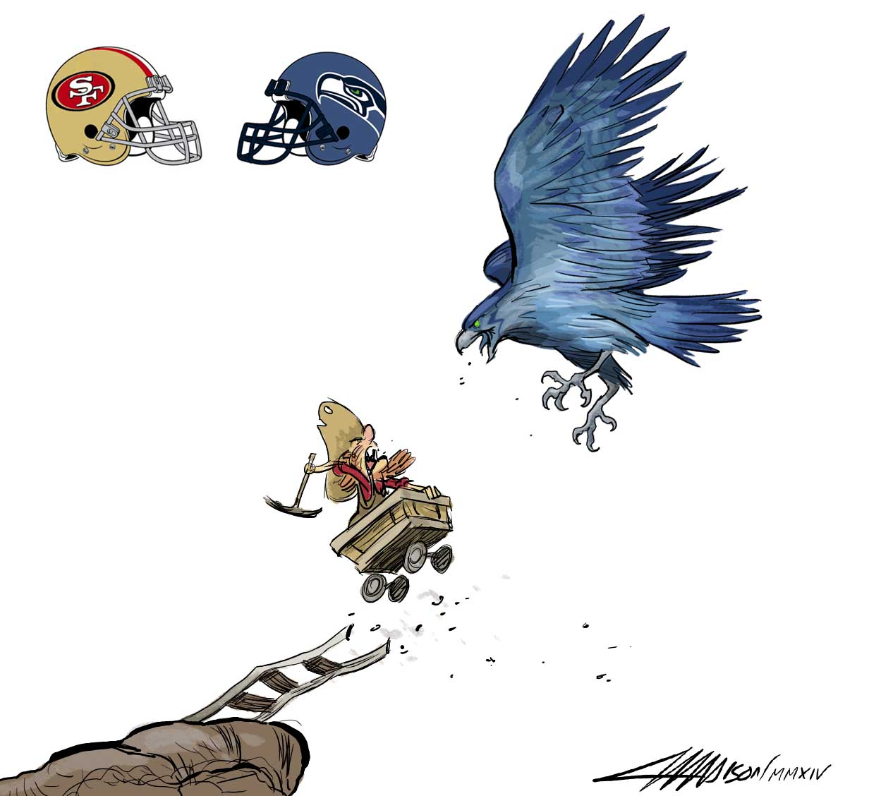 San Francisco 49ers vs Seattle Seahawks via Austin Madison Pixar Artist
