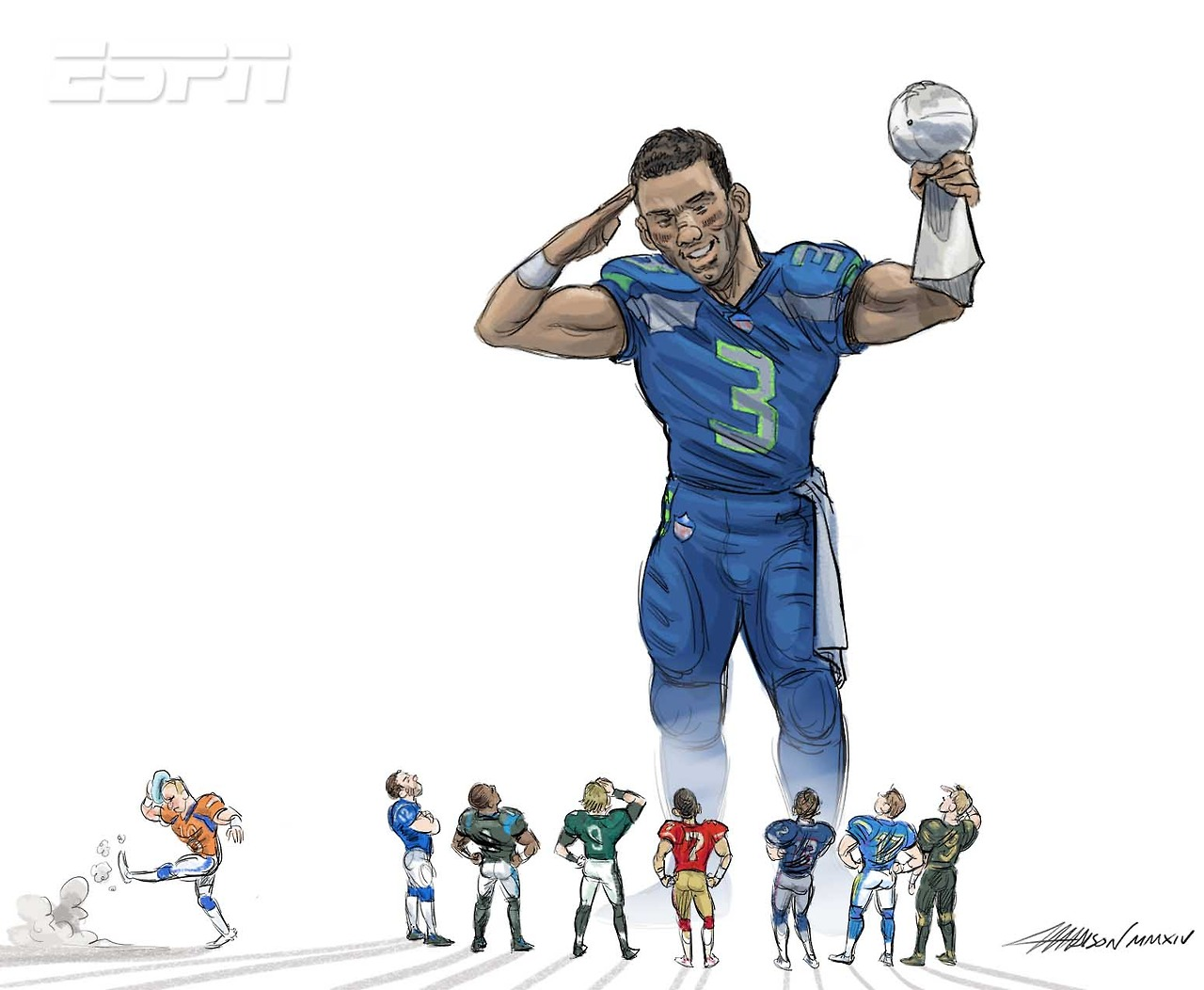 Seattle Seahawks QB Russell Wilson holding up the trophy via Austin Madison Pixar Aritst