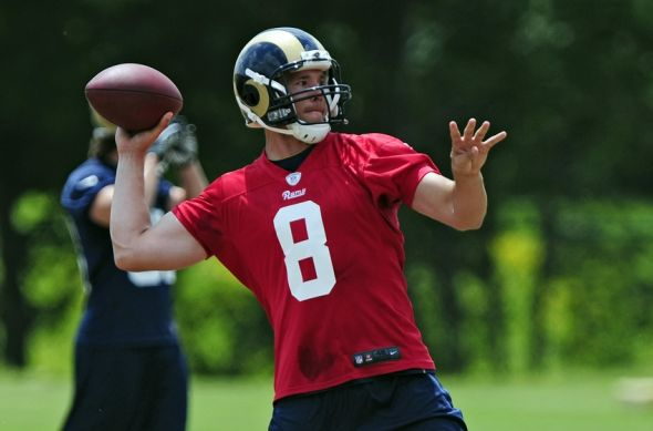 St. Louis Rams quarterback Sam Bradford (8) throws during minicamp. Jeff Curry-USA TODAY Sports