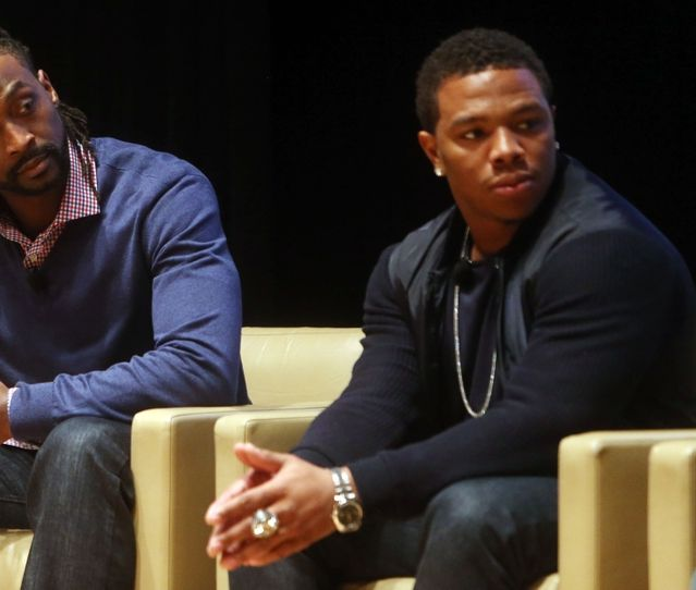 Jan 30, 2014; New York, NY, USA; Chicago Bears cornerback Charles Tillman (left) and Baltimore Ravens running back Ray Rice during the Characters Unite event in advance of Super Bowl XLVIII at 1271 Avenue of Americas. Mandatory Credit: Jerry Lai-USA TODAY Sports