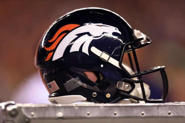 Dec 22, 2014; Cincinnati, OH, USA; General view of a Denver Broncos helmet on the sidelines against the Cincinnati Bengals at Paul Brown Stadium. Mandatory Credit: Andrew Weber-USA TODAY Sports