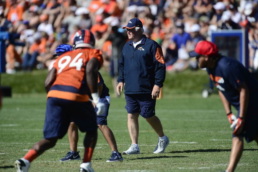 Aug 12, 2015; Englewood, CO, USA; Denver Broncos defensive coordinator Wade Phillips during training camp activities at the UCHealth Training Center. Mandatory Credit: Ron Chenoy-USA TODAY Sports