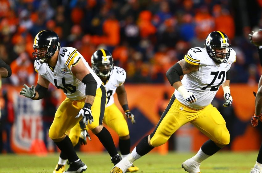 Jan 17, 2016; Denver, CO, USA; Pittsburgh Steelers offensive guard David DeCastro (66) and center Cody Wallace (72) against the Denver Broncos during the AFC Divisional round playoff game at Sports Authority Field at Mile High. Mandatory Credit: Mark J. Rebilas-USA TODAY Sports