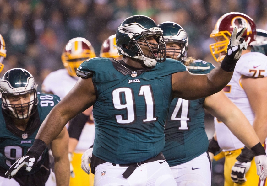 Dec 26, 2015; Philadelphia, PA, USA; Philadelphia Eagles defensive end Fletcher Cox (91) reacts after a sack against the Washington Redskins at Lincoln Financial Field. The Redskins won 38-24. Mandatory Credit: Bill Streicher-USA TODAY Sports