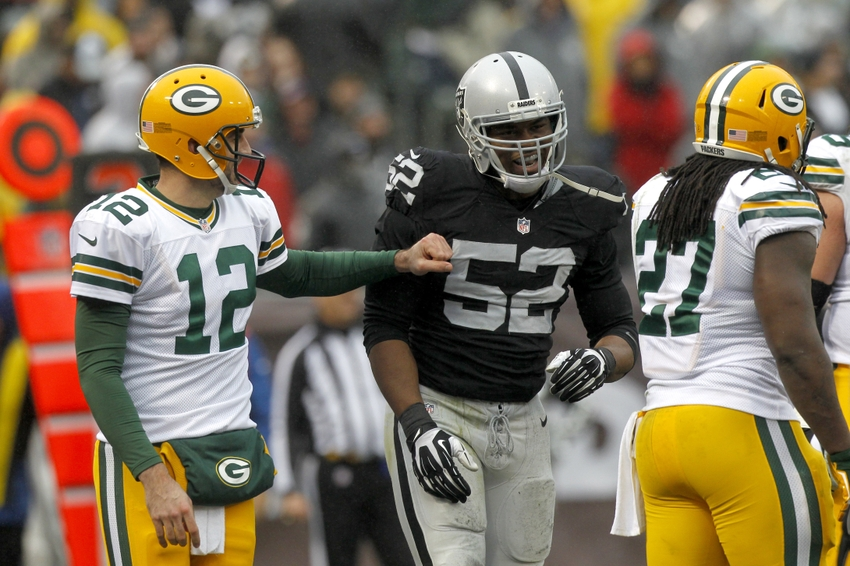 Khalil Mack Aaron Rodgers Nfl Green Bay Packers Oakland Raiders Game
