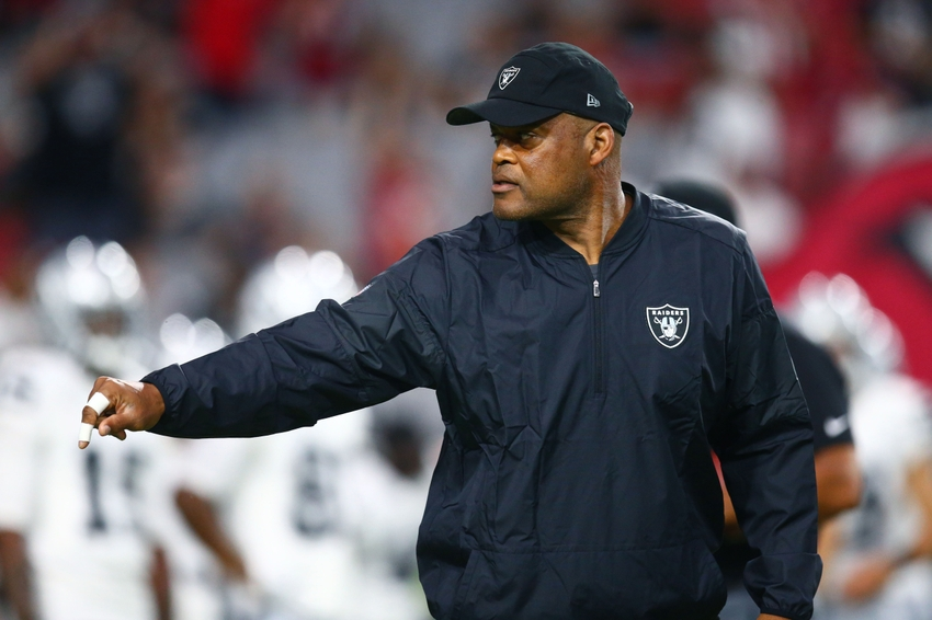 Oakland Raiders defensive coordinator Ken Norton Jr. reacts against the Arizona Cardinals during a preseason game at University of Phoenix Stadium.