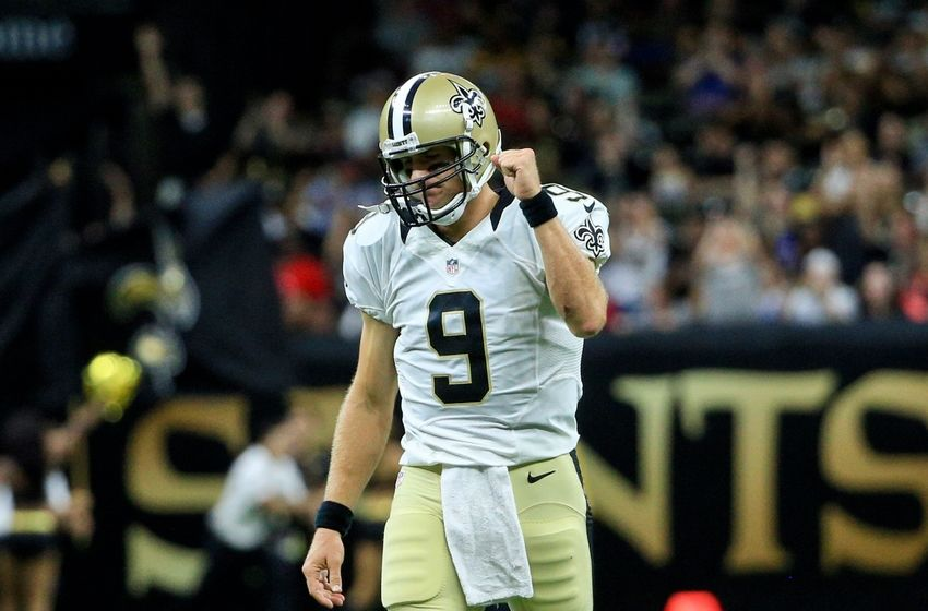 Aug 26, 2016; New Orleans, LA, USA; New Orleans Saints quarterback Drew Brees (9) reacts after a touchdown against the Pittsburgh Steelers during the first half of a preseason game at Mercedes-Benz Superdome. Mandatory Credit: Derick E. Hingle-USA TODAY Sports