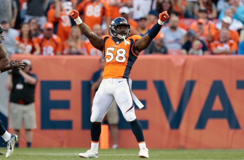 Aug 27, 2016; Denver, CO, USA; Denver Broncos outside linebacker <a rel=