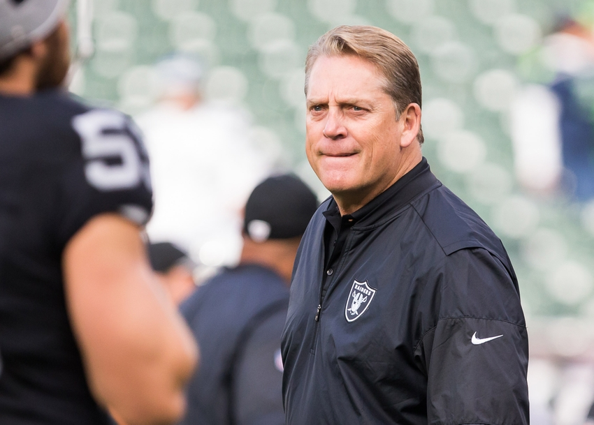 Oakland Raiders head coach Jack Del Rio on the field before the game Seattle Seahawks at Oakland Coliseum.