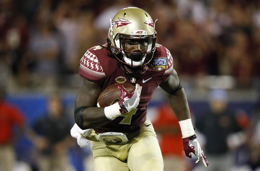 Sep 5, 2016; Orlando, FL, USA;  Florida State Seminoles running back Dalvin Cook (4) runs the ball in the second quarter against the Mississippi Rebels at Camping World Stadium. Mandatory Credit: Logan Bowles-USA TODAY Sports