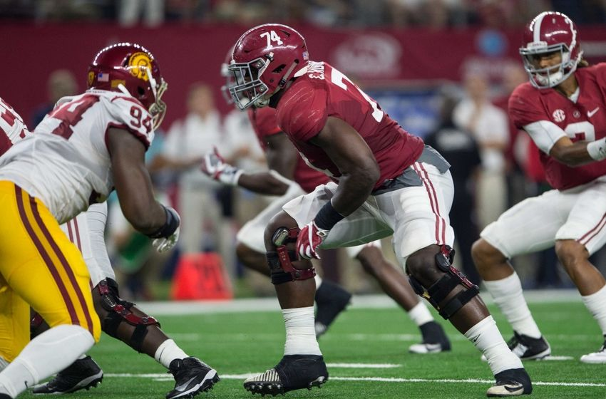 Sep 3, 2016; Arlington, TX, USA; Alabama Crimson Tide offensive lineman Cam Robinson (74) in action during the game against the USC Trojans at AT&T Stadium. Alabama defeats USC 52-6. Mandatory Credit: Jerome Miron-USA TODAY Sports