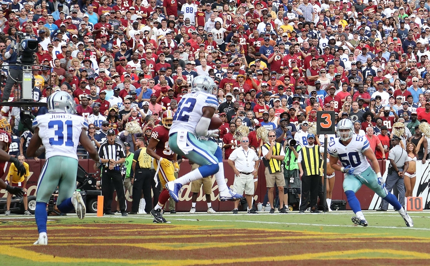 Sep 18, 2016; Landover, MD, USA; Dallas Cowboys safety Barry Church (42) intercepts a pass from Washington Redskins quarterback Kirk Cousins (not pictured) in the end zone in the fourth quarter at FedEx Field. The Cowboys won 27-23. Mandatory Credit: Geoff Burke-USA TODAY Sports