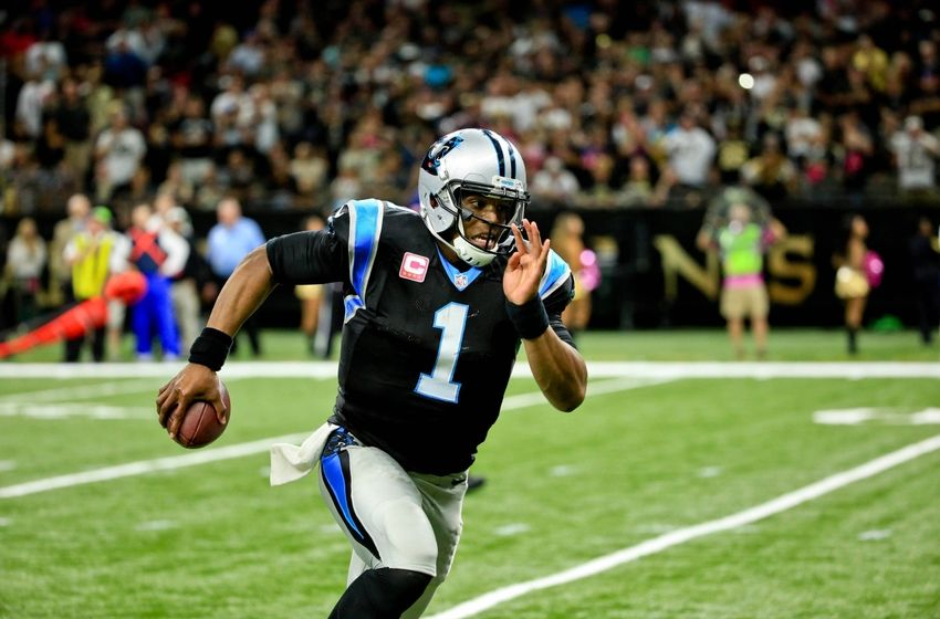Oct 16, 2016; New Orleans, LA, USA; Carolina Panthers quarterback Cam Newton (1) runs for a touchdown against the New Orleans Saints during the fourth quarter of a game at the Mercedes-Benz Superdome. The Saints defeated the Panthers 41-38. Mandatory Credit: Derick E. Hingle-USA TODAY Sports