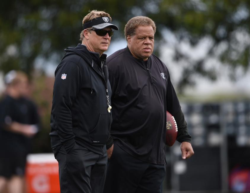 Oakland Raiders coach Jack Del Rio (left) and general manager Reggie McKenzie during rookie minicamp at the Raiders practice facility.