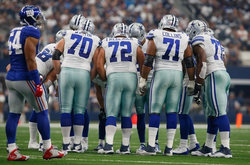 Sep 11, 2016; Arlington, TX, USA; Dallas Cowboys guard Zack Martin (70) and center Travis Frederick (72) and offensive guard La'el Collins (71) and tackle Tyron Smith (77) line up during the game against the New York Giants at AT&T Stadium. New York won 20-19. Mandatory Credit: Tim Heitman-USA TODAY Sports