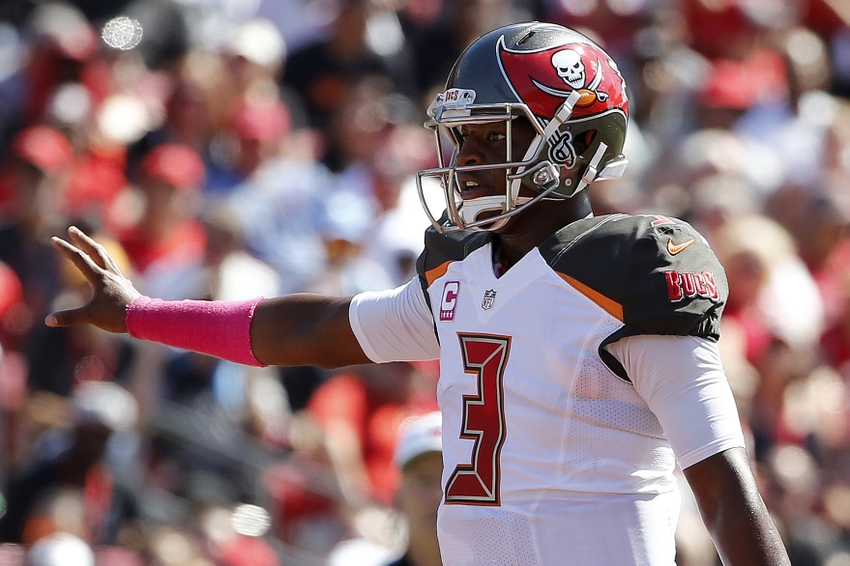 7a006293560 Oct 30, 2016; Tampa, FL, USA; Tampa Bay Buccaneers quarterback Jameis  Winston (3) calls a play against the Oakland Raiders during the first  quarter at ...