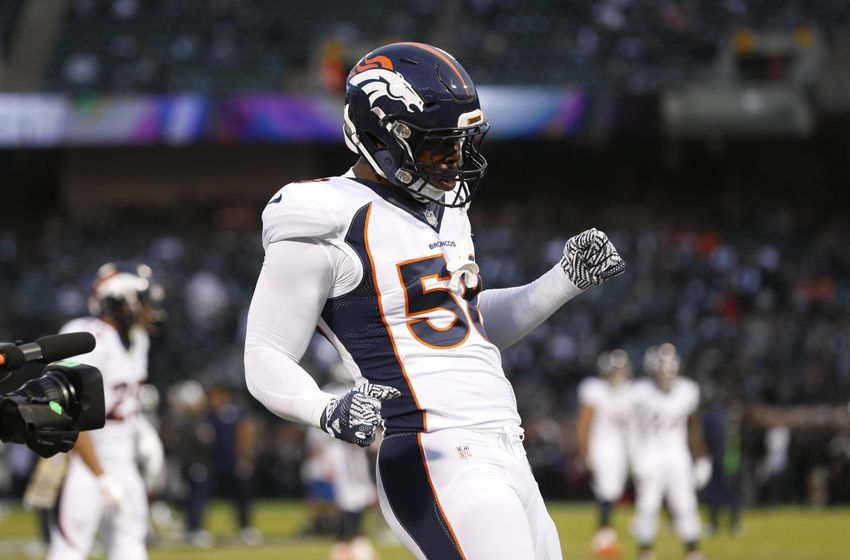 Nov 6, 2016; Oakland, CA, USA; Denver Broncos outside linebacker Von Miller (58) dances on the field before the start of the game against the Oakland Raiders at Oakland Coliseum. Mandatory Credit: Cary Edmondson-USA TODAY Sports