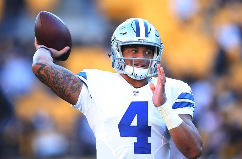 Nov 13, 2016; Pittsburgh, PA, USA; Dallas Cowboys quarterback Dak Prescott (4) warms up before playing the Pittsburgh Steelers at Heinz Field. Mandatory Credit: Charles LeClaire-USA TODAY Sports