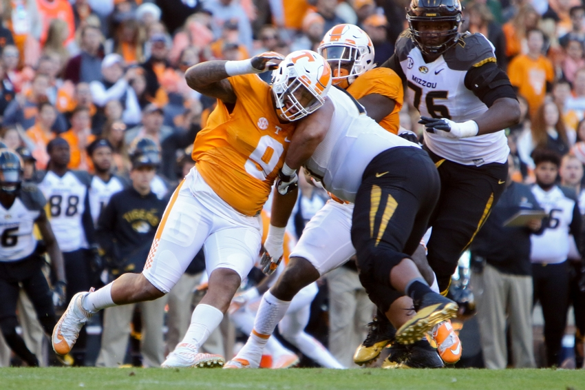 Nov 19, 2016; Knoxville, TN, USA; Tennessee Volunteers defensive end Derek Barnett (9) during the first quarter against the Missouri Tigers at Neyland Stadium. Mandatory Credit: Randy Sartin-USA TODAY Sports