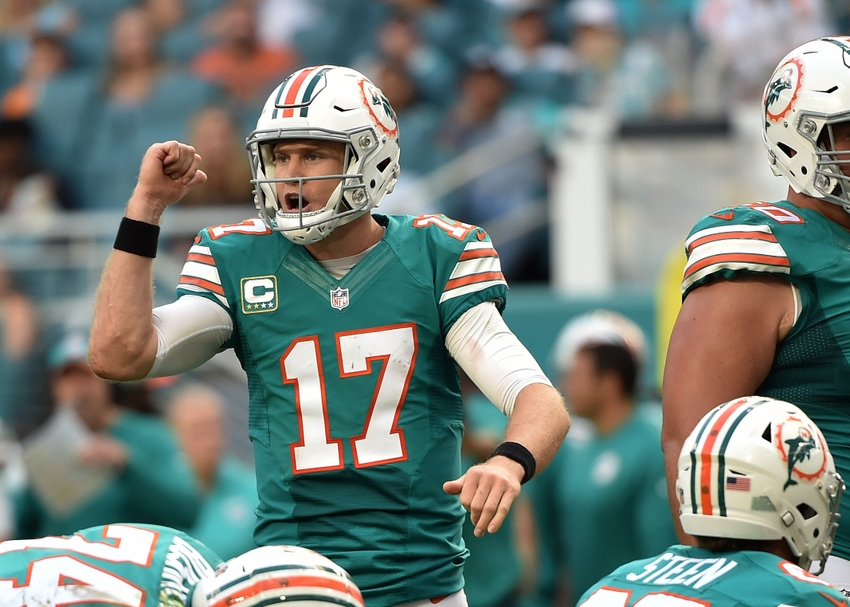 Nov 27, 2016; Miami Gardens, FL, USA; Miami Dolphins quarterback Ryan Tannehill (17) yells out from the line of scrimmage gains the San Francisco 49ers during the second half at Hard Rock Stadium. The Dolphins won 31-24. Mandatory Credit: Steve Mitchell-USA TODAY Sports