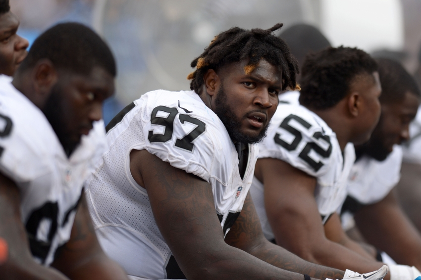 Oakland Raiders defensive tackle Mario Jr. Edwards (97) looks on from the bench during the third quarter against the San Diego Chargers at Qualcomm Stadium.