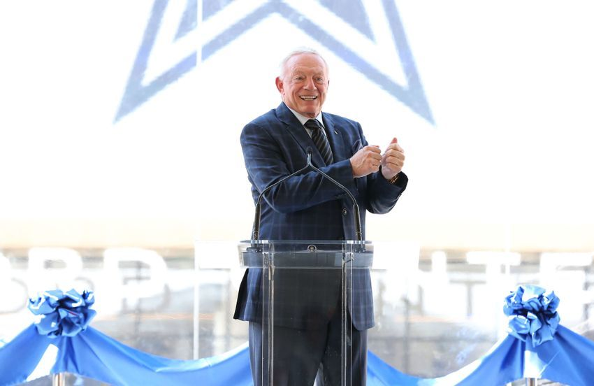 Aug 21, 2016; Frisco, TX, USA; Dallas Cowboys owner Jerry Jones speaks prior to the ribbon cutting for the Ford Center at The Star. Mandatory Credit: Matthew Emmons-USA TODAY Sports