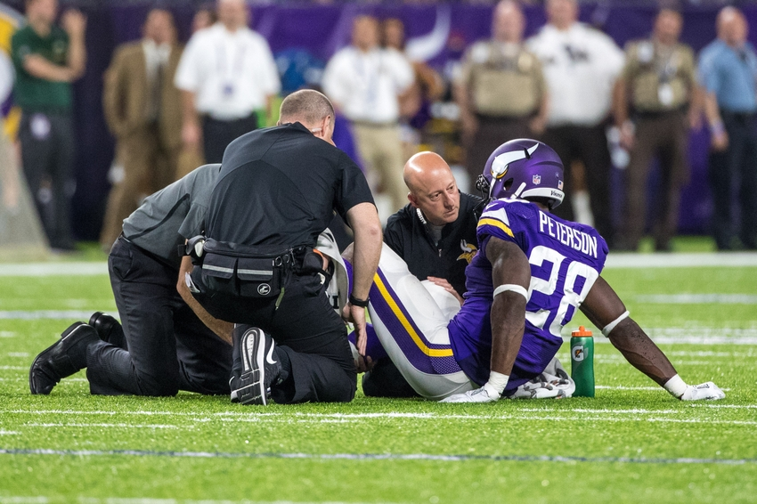 Vikings' Adrian Peterson listed out for Bears game