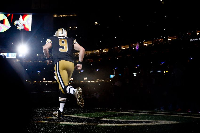 Dec 4, 2016; New Orleans, LA, USA; New Orleans Saints quarterback Drew Brees (9) during introductions before a game against the Detroit Lions at the Mercedes-Benz Superdome. Mandatory Credit: Derick E. Hingle-USA TODAY Sports