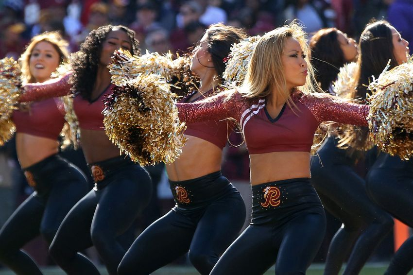 Redskins Cheerleader Eats It After Accidental Kirk Cousins