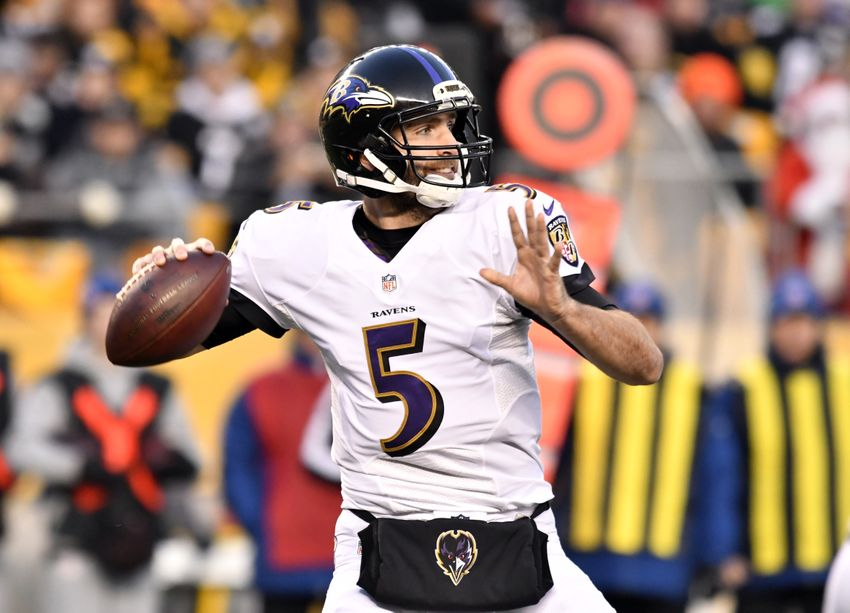 Dec 25, 2016; Pittsburgh, PA, USA; Baltimore Ravens quarterback Joe Flacco (5) throws a pass during the first quarter of a game against the Pittsburgh Steelers at Heinz Field. Mandatory Credit: Mark Konezny-USA TODAY Sports