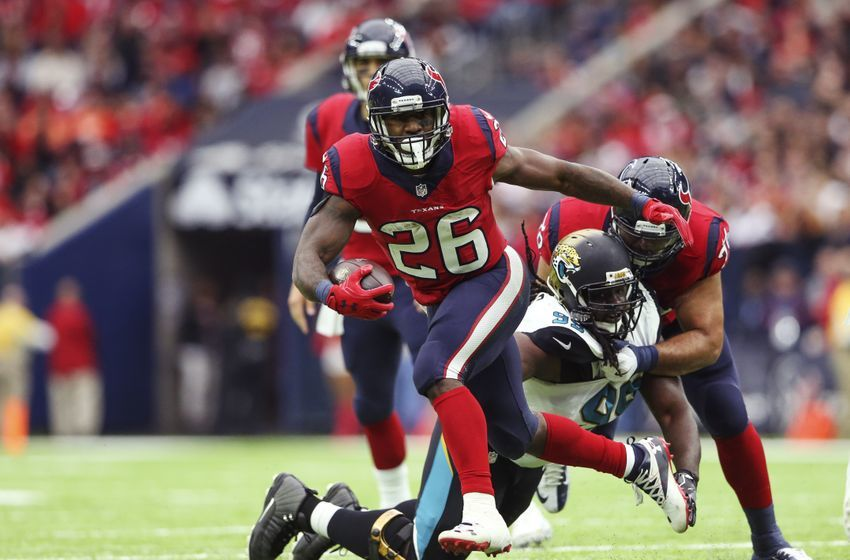Dec 18, 2016; Houston, TX, USA; Houston Texans running back Lamar Miller (26) runs with the ball during the first half against the Jacksonville Jaguars at NRG Stadium. Mandatory Credit: Kevin Jairaj-USA TODAY Sports