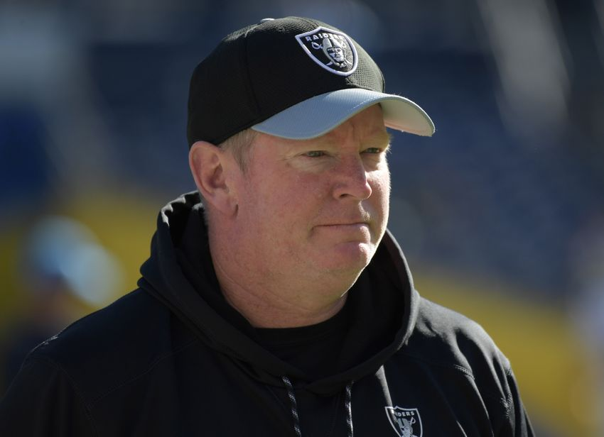 Oakland Raiders offensive coordinator Bill Musgrave reacts during a NFL football game against the San Diego Chargers at Qualcomm Stadium. Mandatory Credit: Kirby Lee-USA TODAY Sports