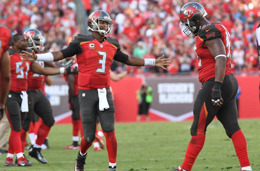Jan 1, 2017; Tampa, FL, USA; Tampa Bay Buccaneers quarterback Jameis Winston (3) greets defensive tackle Gerald McCoy (93) after the Carolina Panthers failed on a two point conversion attempt to tie the game in the second half at Raymond James Stadium. The Tampa Bay Buccaneers defeated the Carolina Panthers 17-16. Mandatory Credit: Jonathan Dyer-USA TODAY Sports