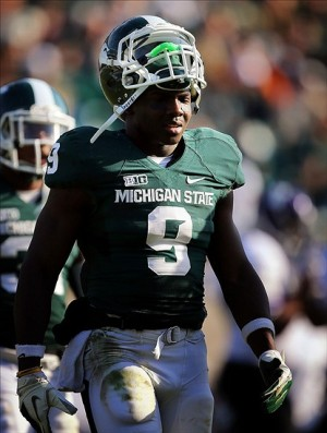 November 17, 2012; East Lansing, MI, USA; Michigan State Spartans safety Isaiah Lewis (9) walks off the field after a game against the Northwestern Wildcats at Spartan Stadium. Mandatory Credit: Mike Carter-USA TODAY Sports