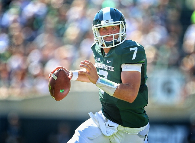Sep 27, 2014; East Lansing, MI, USA; Michigan State Spartans quarterback Tyler O