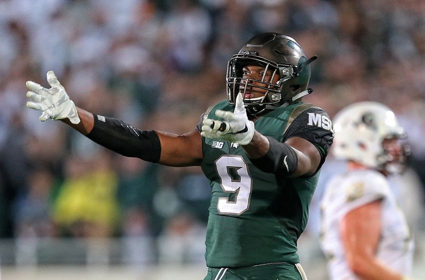 Sep 12, 2015; East Lansing, MI, USA; Michigan State Spartans safety Montae Nicholson (9) gestures to the crowd during the 2nd half of a game at Spartan Stadium. MSU won 31-28. Mandatory Credit: Mike Carter-USA TODAY Sports