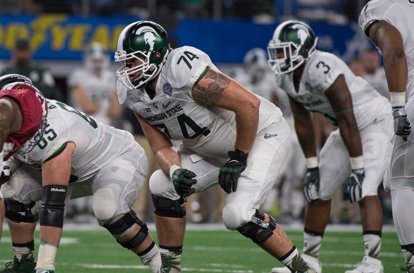 Dec 31, 2015; Arlington, TX, USA; Michigan State Spartans offensive tackle Jack Conklin (74) during the game against the Alabama Crimson Tide in the 2015 Cotton Bowl at AT&T Stadium. Mandatory Credit: Jerome Miron-USA TODAY Sports