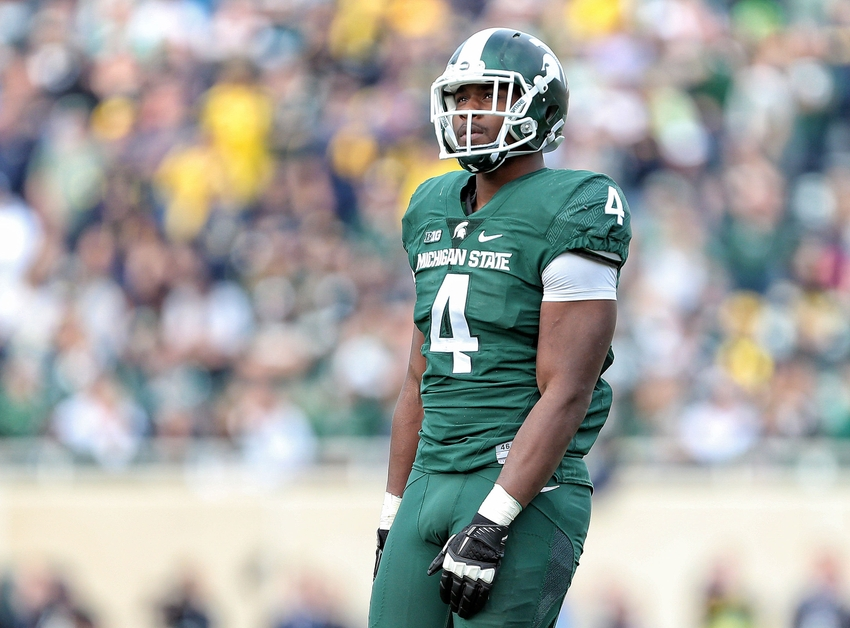 Oct 29, 2016; East Lansing, MI, USA; Michigan State Spartans defensive lineman Malik McDowell (4) stands on the field during the first quarter of a game against the Michigan Wolverines at Spartan Stadium. Mandatory Credit: Mike Carter-USA TODAY Sports