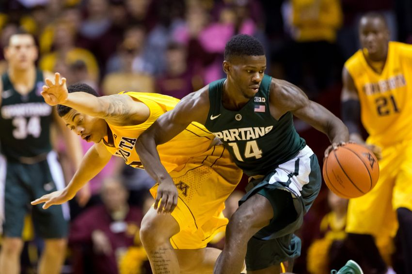 Jan 2, 2016; Minneapolis, MN, USA; Minnesota Gophers guard Nate Mason (2) and Michigan State Spartans guard Eron Harris (14) chase a loose ball in the second half Williams Arena. Mandatory Credit: Brad Rempel-USA TODAY Sports