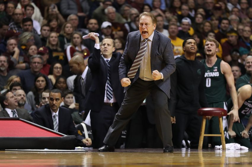 Dec 27, 2016; Minneapolis, MN, USA; Michigan State Spartans head coach Tom Izzo reacts against the Minnesota Golden Gophers during the second half at Williams Arena. Michigan State defeated Minnesota 75-74 in overtime. Mandatory Credit: Jordan Johnson-USA TODAY Sports