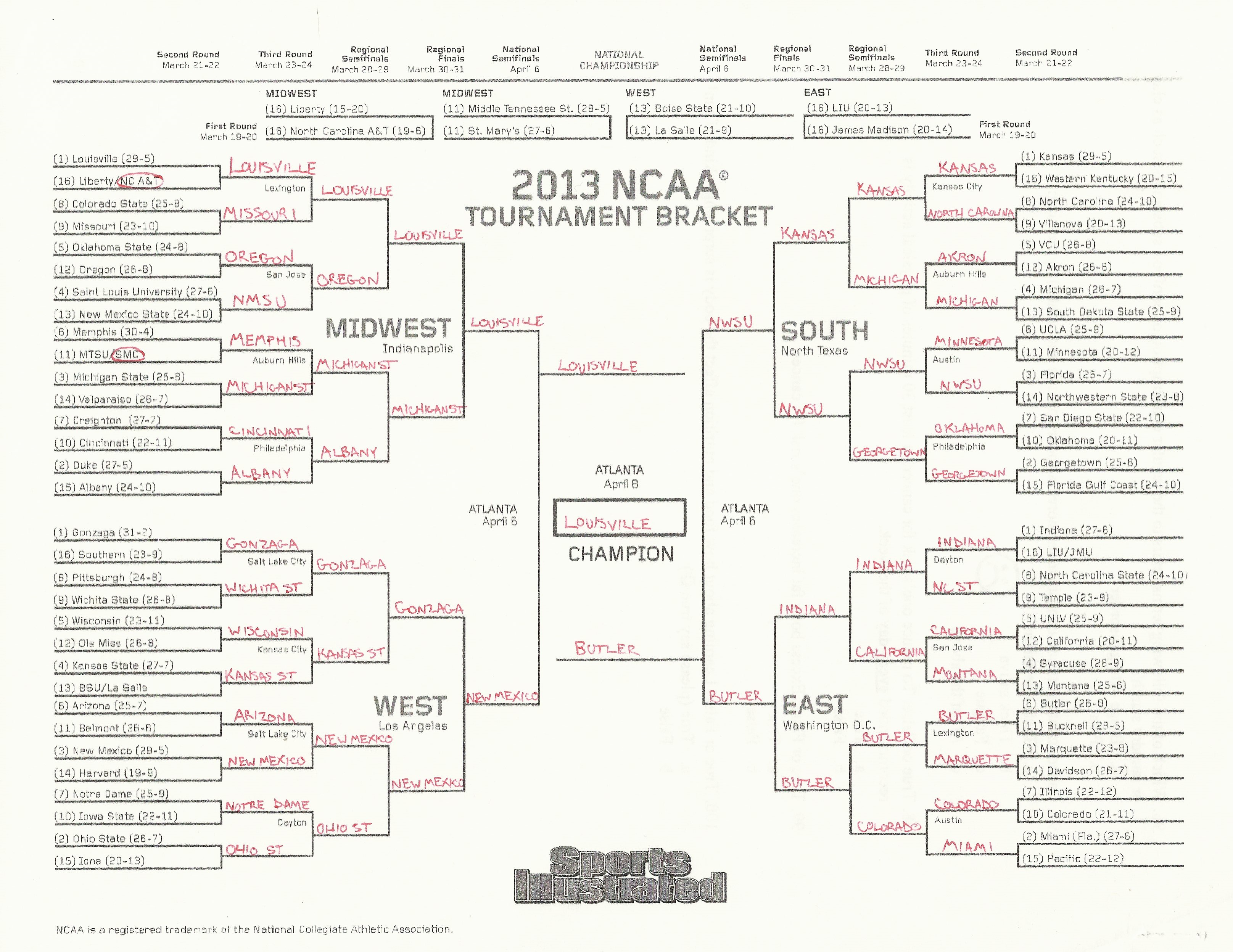2013 Ncaa Tournament Bracket Completed ncaa tournament : the geography ...