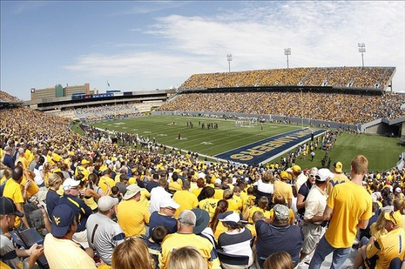Aug 31, 2013; Morgantown, WV, USA; General view as the West Virginia Mountaineers play the William