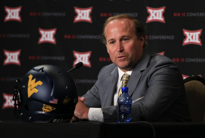 Jul 20, 2015; Dallas, TX, USA; West Virginia Mountaineers head coach Dana Holgorsen speaks to the media during the Big 12 Media Days at Omni Dallas. Mandatory Credit: Kevin Jairaj-USA TODAY Sports