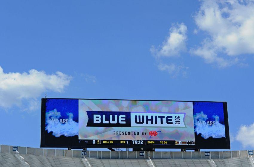 Apr 18, 2015; University Park, PA, USA; General view of the scoreboard ...
