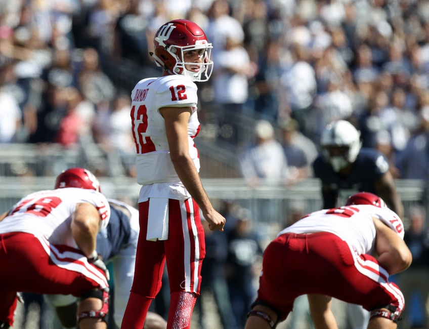 Oct 10, 2015; University Park, PA, USA; Indiana Hoosiers quarterback Zander Diamont (12) looks down the line of scrimmage during the second quarter against the Penn State Nittany Lions at Beaver Stadium. Penn State defeated Indiana 29-7. Mandatory Credit: Matthew O