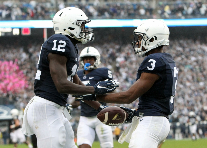 Oct 8, 2016; University Park, PA, USA; Penn State Nittany Lions wide receiver DeAndre Thompkins (3) celebrates with wide receiver Chris Godwin (12) after scoring a touchdown during the third quarter against the Maryland Terrapins at Beaver Stadium. Penn State defeated Maryland 38-14. Mandatory Credit: Matthew O'Haren- USA TODAY Sports