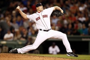 April 17, 2012; Boston, MA, USA; Boston Red Sox relief pitcher Mark Melancon (37) pitches against the Texas Rangers during the eighth inning at Fenway Park. Mandatory Credit: Mark L. Baer-US PRESSWIRE
