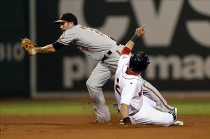 Aug 29, 2013; Boston, MA, USA; Boston Red Sox center fielder Jacoby Ellsbury (2) steals second base before Baltimore Orioles shortstop J.J. Hardy (2) can apply the tag during the eighth inning at Fenway Park. Mandatory Credit: Greg M. Cooper-USA TODAY Sports